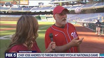 Jose Andres throws the first pitch at Nationals Park
