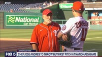 Celebrated chef Jose Andres serves up the first pitch at Nationals Park