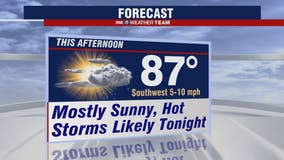 Sunny, hot and humid Monday with chance for evening storms
