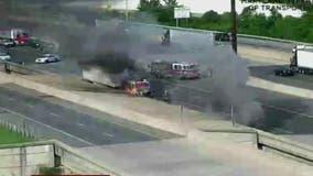 Beltway Inner-loop lanes near National Harbor shut down by tractor-trailer fire