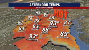 Hot and humid Monday as heat wave returns; heat index values from 100 to 110 degrees