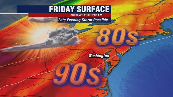 Sunny and hot Friday with highs in the upper-80s; late evening storm possible