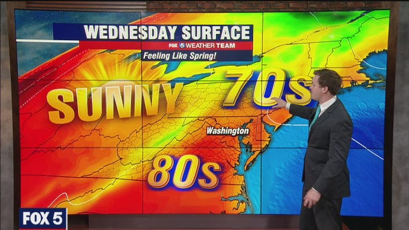 A sunny and pleasant Wednesday with highs near 80 degrees