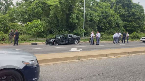 Officer struck by vehicle in Temple Hills released from hospital; police still searching for suspect