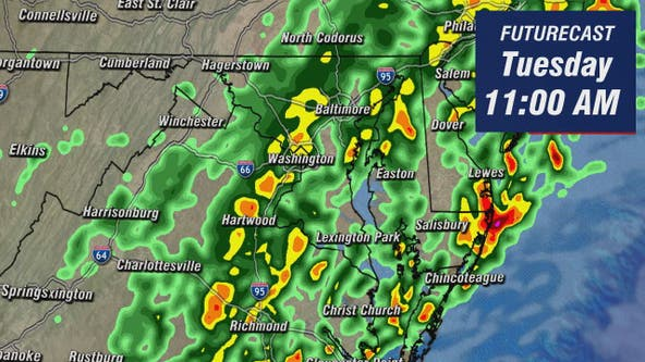 Rain through early afternoon Tuesday; dry evening skies with highs in the upper-70s