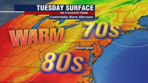 Warm and breezy Tuesday with a possible passing shower