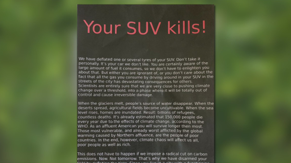 'Your SUV kills!': Several car tires deflated in N. Arlington, vandals leave note explaining why