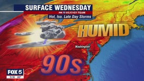 Sunny, hot Wednesday with scattered storms through evening
