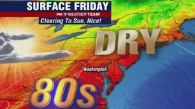 Sunny, comfortable Friday with low humidity and highs in the upper-80s