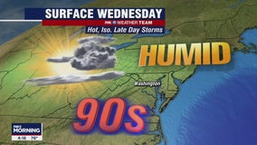 Sunny, hot Wednesday with scattered storms possible through evening