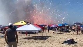 Ocean City bomb squad detonates damaged fireworks from accidental blast on parts of beach Monday