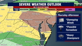 Severe storms, damaging winds and heavy downpours possible across parts of DC region Thursday