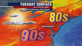 Hot and hazy Tuesday with dry skies and highs in the low-90s