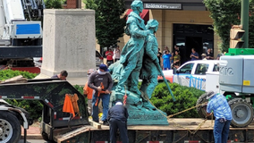 Statue of Lewis, Clark and Sacagawea toppled in Charlottesville