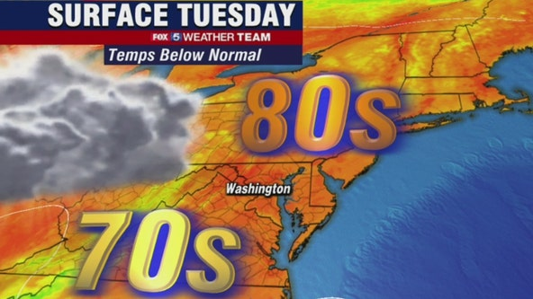 Cool, cloudy Tuesday with highs in the upper-70s to low-80s; late day shower possible