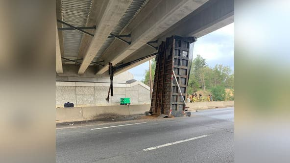 I-95 in Stafford County partially closed after truck strikes bridge