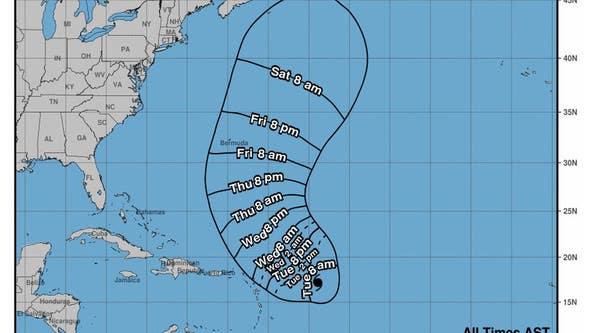 Hurricane Sam sustains Category 4 storm status over Atlantic