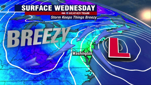 Breezy and brisk Wednesday with seasonable highs in the upper-60s