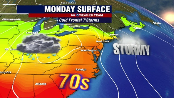 Warm highs in the 70s Monday; stormy fall evening ahead