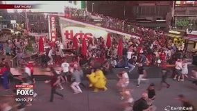 Backfiring motorcycle causes panic in Times Square