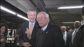 Sanders and de Blasio ride the subway