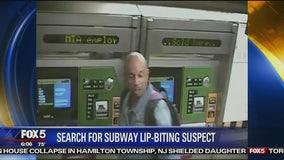 Man bites commuter's lip