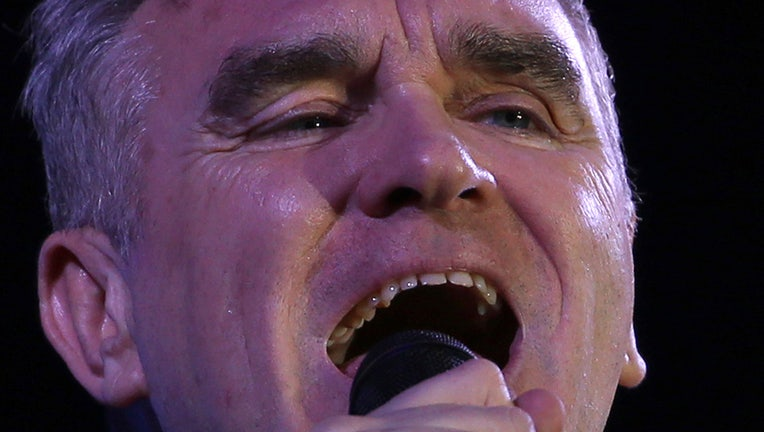British singer and songwriter Morrissey performs at the Vive Latino music festival in Mexico City, Saturday, March 17, 2018.(AP Photo/Marco Ugarte)