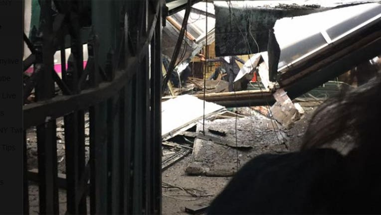 Debris and wreckage inside the Hoboken tain terminal