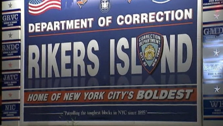 A sign at the entrance to the bridge to Rikers Island.