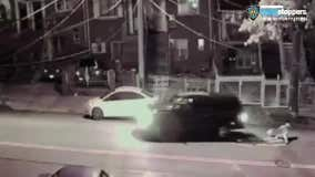 Video shows driver backing over pedestrian, fleeing scene