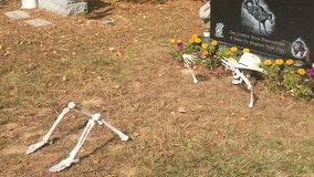Woman who decorated son's grave with skeleton coming out of ground for Halloween says cemetery threw it away