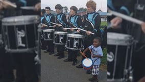 Video of 4-year-old boy joining school drumline at football game goes viral