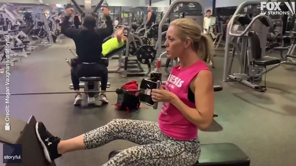Wine workout: Woman sips while doing pull-ups, lifting weights at gym