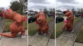 11-year-old in inflatable T-Rex costume struggles to trick-or-treat on windy evening