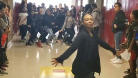 Middle school dance team surprises classmates with flash-mob dance to 'Thriller'