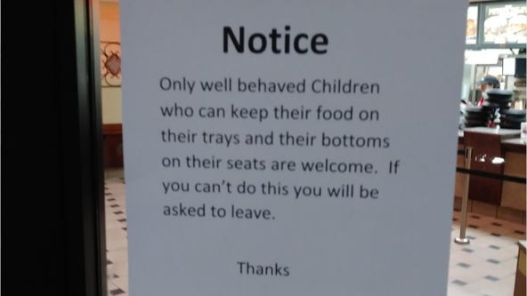 Arby's restaurant in Minnesota removes 'insensitive' sign saying 'only well behaved' children are welcome