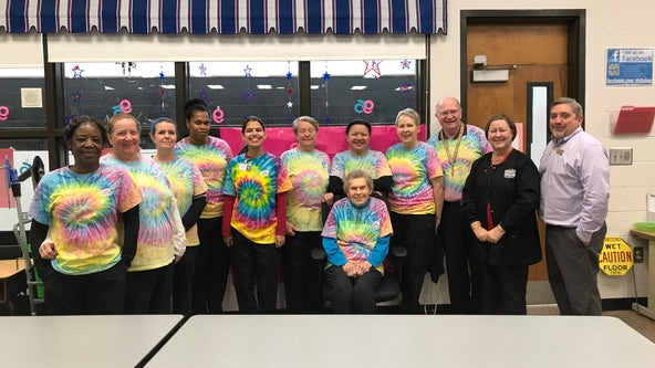 'Always has a smile on her face': Beloved cafeteria worker celebrates 95th birthday with students