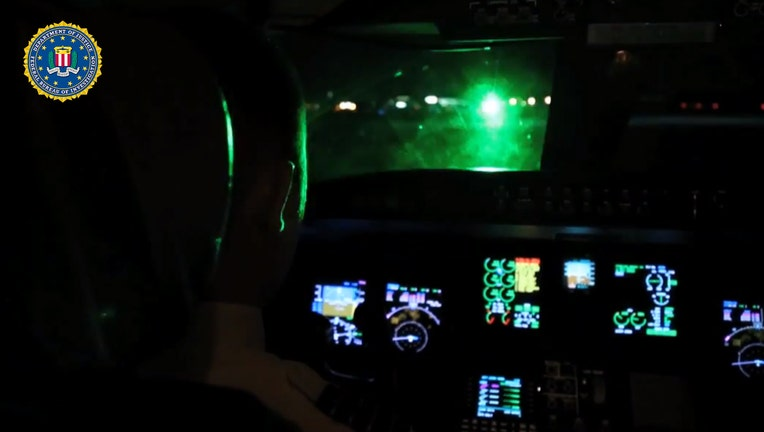 FILE - Simulated laser pointed into a cockpit of a plane, said police.
