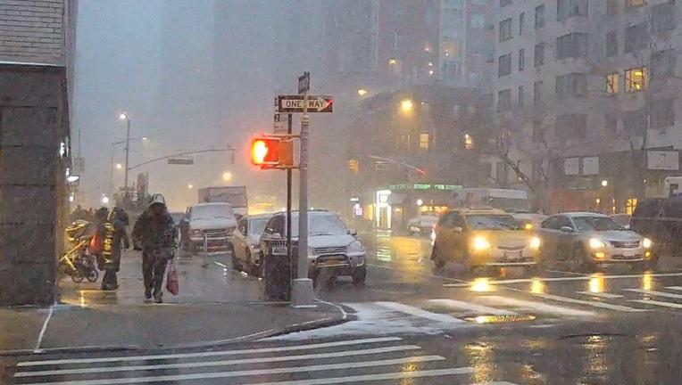 A snow squall passed through Manhattan