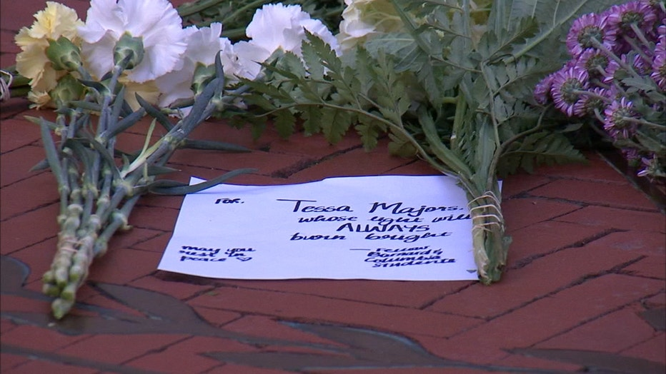 Flowers left in honor of slain student