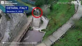 Landslide destroys vantage point seconds after person walks away