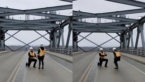 Uplifting Proposal: Engineering couple gets engaged atop bridge's raised deck