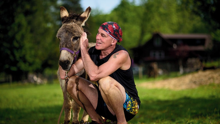 Chris and Sherman the donkey
