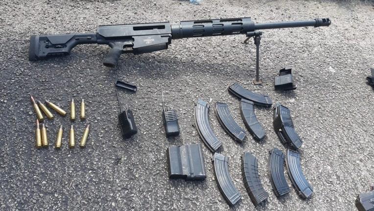 Machine gun, ammunition, magazines and radios