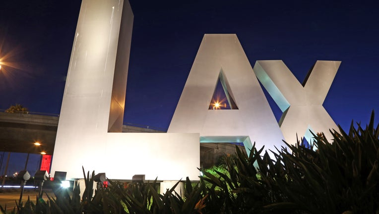 LAX sign at the Century Boulevard entrance to Los Angeles International Airport. (Photo by: Ken Ross/VW Pics/Universal Images Group via Getty Images)