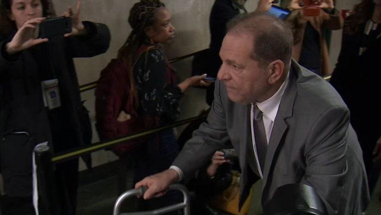 Harvey Weinstein uses a walker inside a Manhattan courthouse