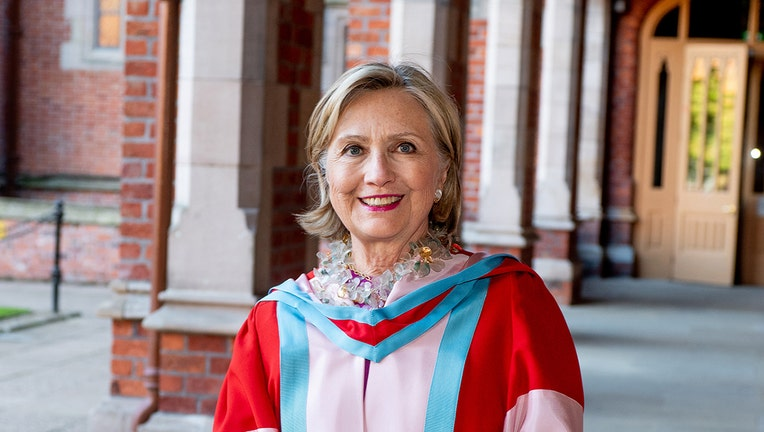 Hillary Clinton wearing ceremonial robes at Queen's University