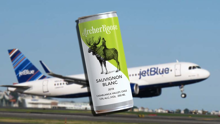 Archer Roose wine in a can superimposed over a JetBlue plane