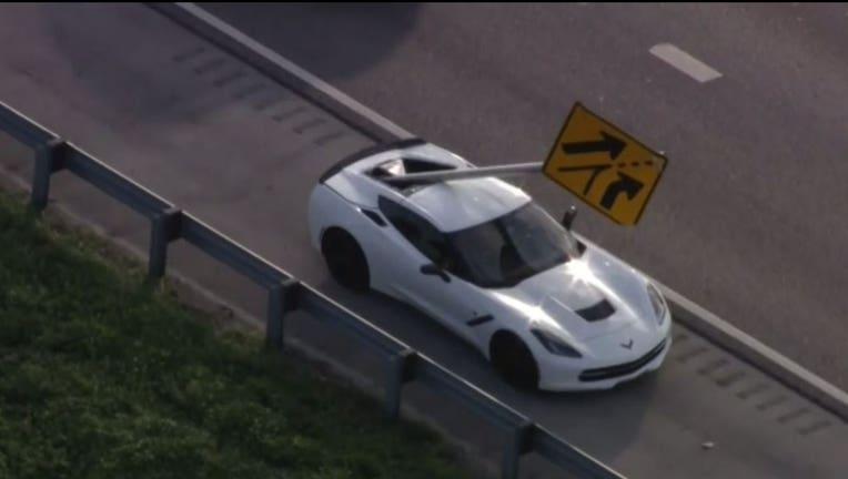 Sign hits Corvette