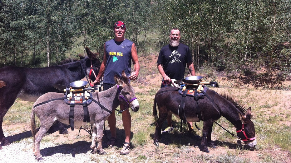 Kip, Chris McDougall and Sherman the donkey